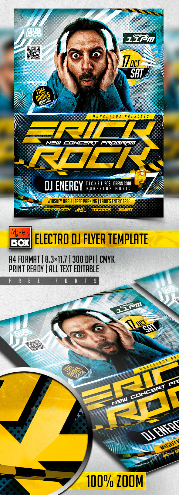 Electro Dj Flyer Template - Flyers Print Templates