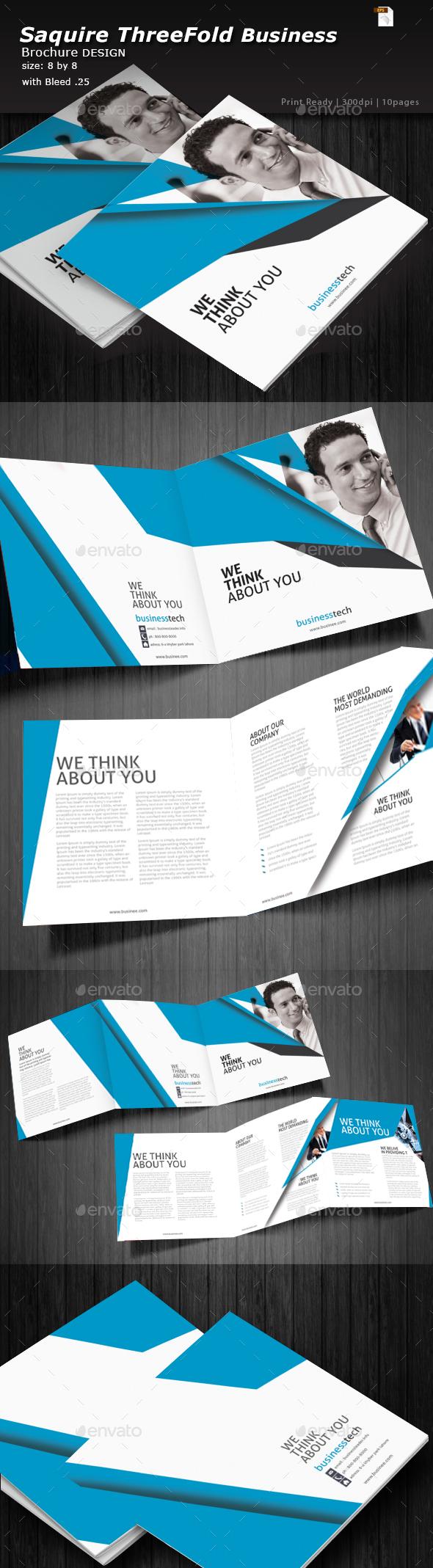 Square Business Three Fold Brochure  - Brochures Print Templates
