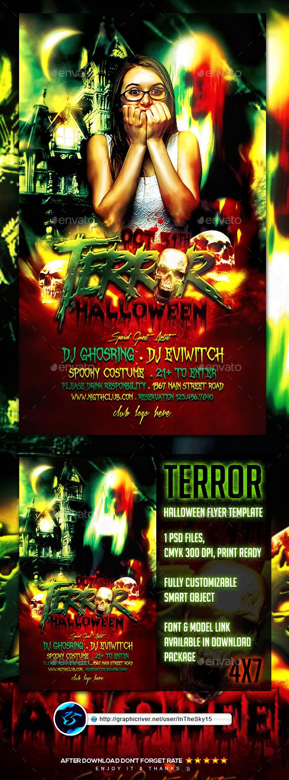 Terror Halloween Flyer Template - Flyers Print Templates