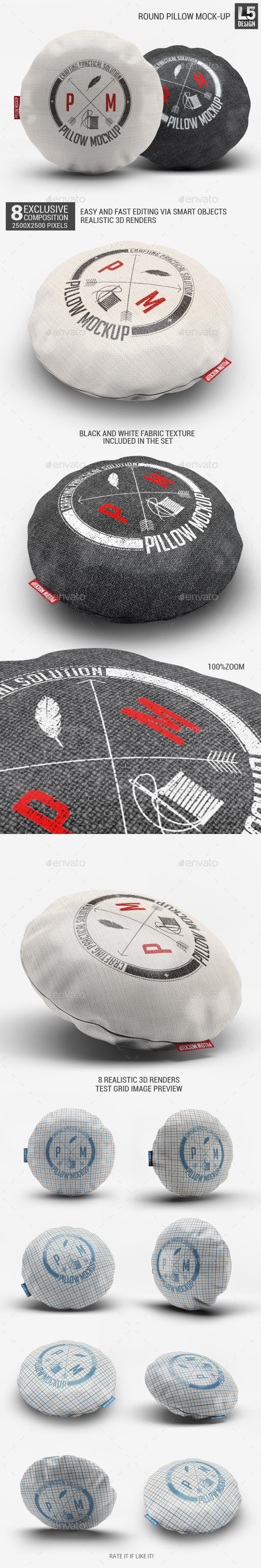 Round Pillow Mock-Up - Miscellaneous Product Mock-Ups