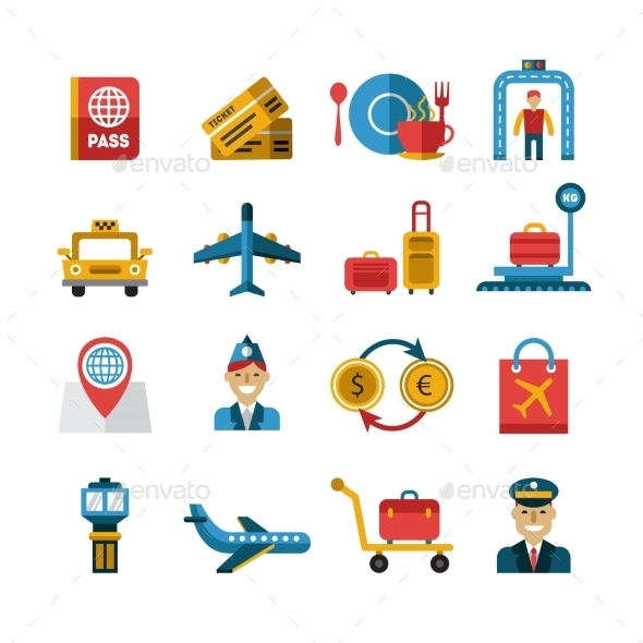 Airport and Airlines Services Icons - Miscellaneous Vectors