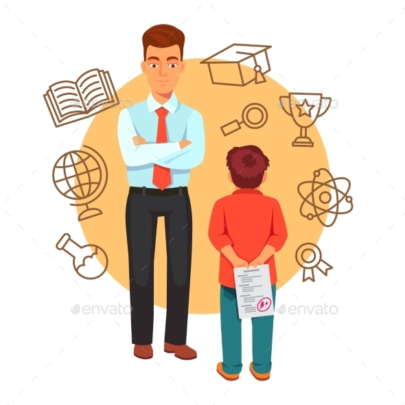 Parenting and Education Concept with Icons - People Characters