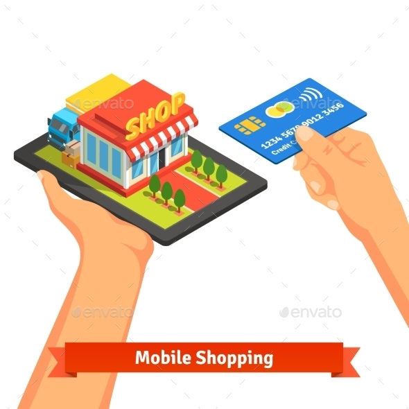 Mobile Supermarket Internet Commerce Concept - Concepts Business