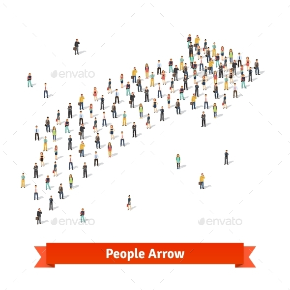 People Standing Together in Shape of an Arrow  - Abstract Conceptual