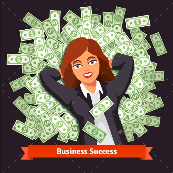 Business Woman on Pile of Dollars - Concepts Business