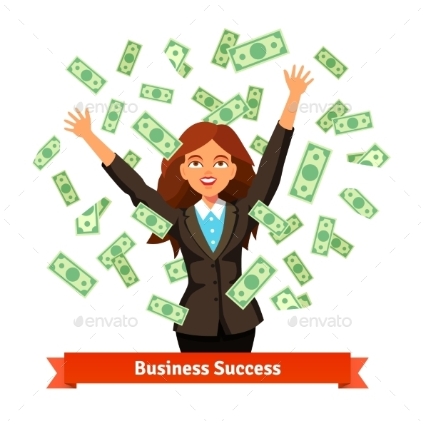 Woman Throwing Money in the Air - Concepts Business