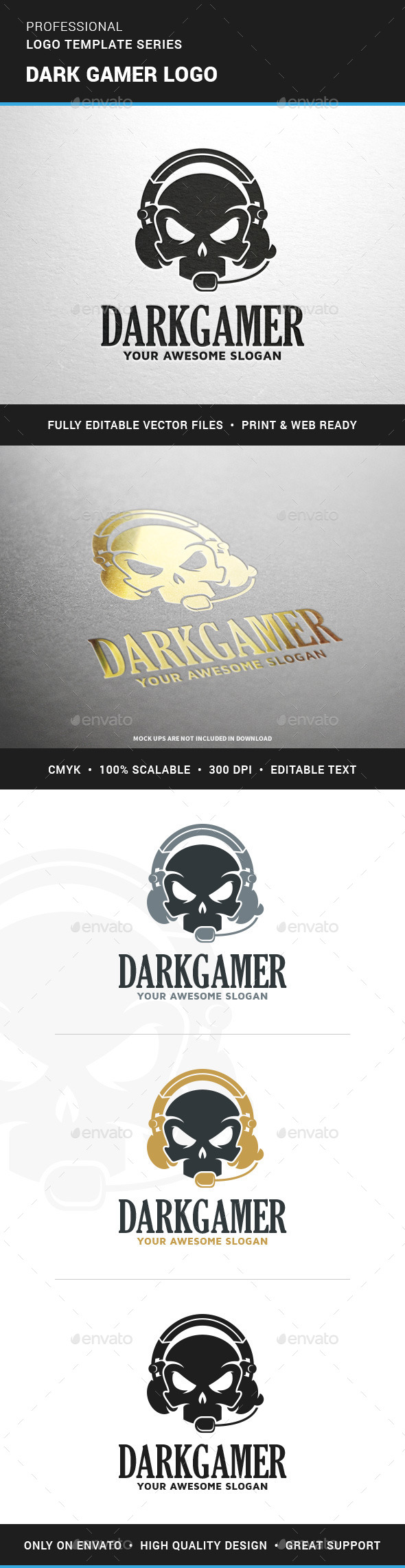 Dark Gamer Logo Template - Logo Templates