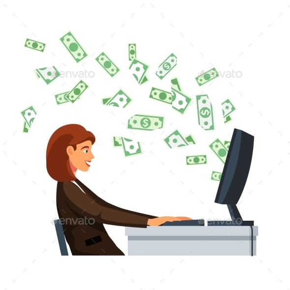 Businesswoman Sitting in Front of Computer Screen - Concepts Business