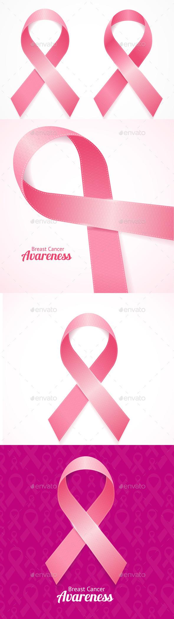 Breast Cancer Ribbon Set - Health/Medicine Conceptual