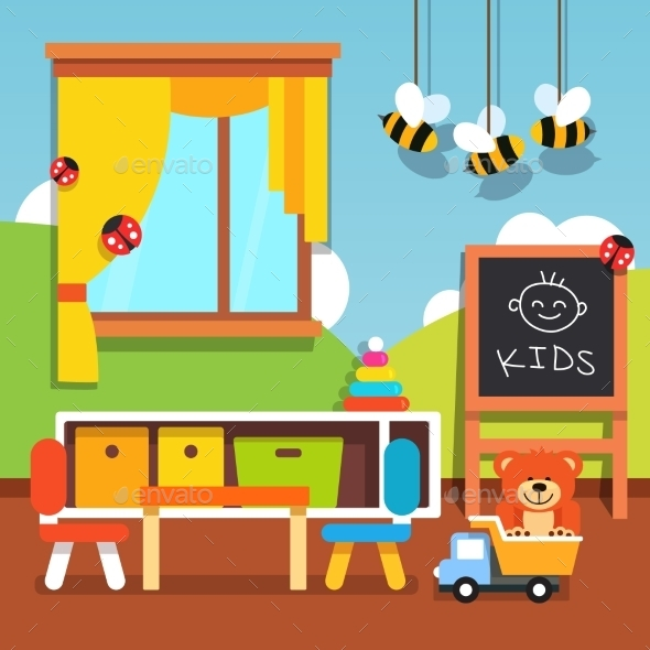 Preschool Kindergarten Classroom with Toys - Miscellaneous Conceptual