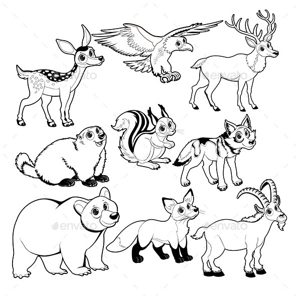 Wood and Mountain Animals in Black and White - Animals Characters