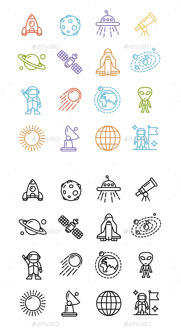Spase Outline Icons Set - Decorative Symbols Decorative