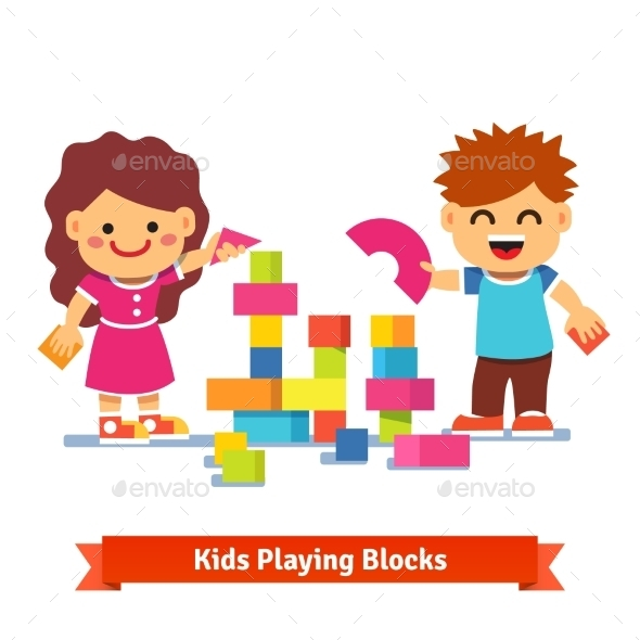 Kids Building Tower with Colorful Wooden Blocks - People Characters