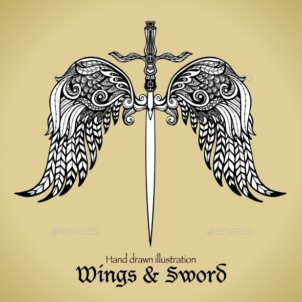 Wings and Sword - Decorative Symbols Decorative