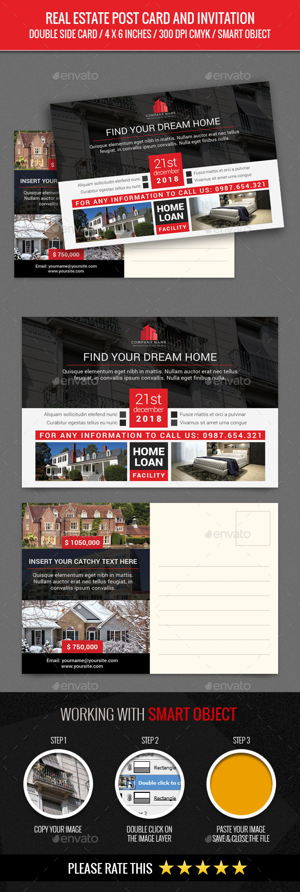 Real Estate Post Card Template - Cards & Invites Print Templates