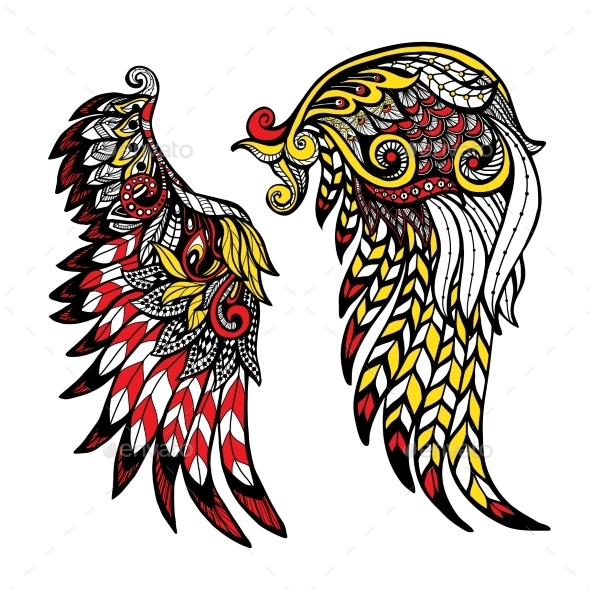 Colored Wings Set - Animals Characters
