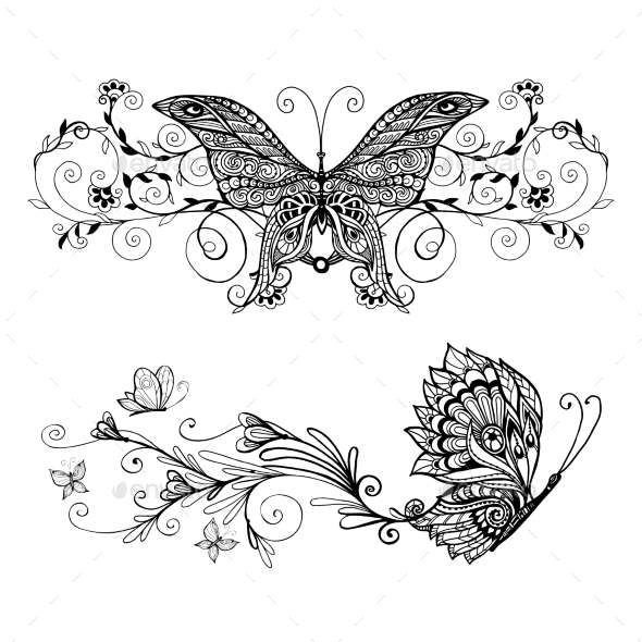 Decorative Butterflies Set - Animals Characters