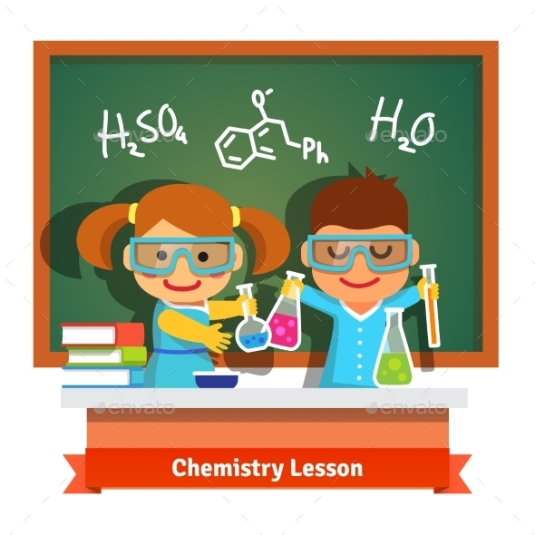 Kids Having Fun at Chemistry Lesson - People Characters