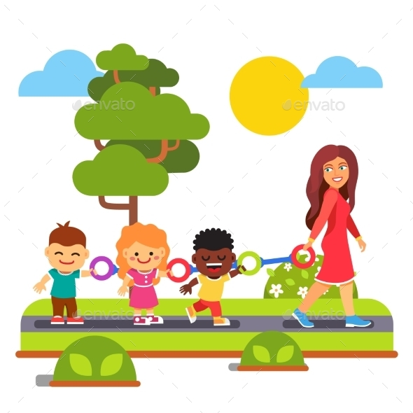 Kindergarten Teacher Walking with Kids Outdoors - People Characters