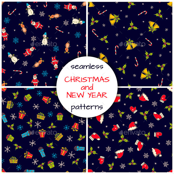 Christmas and New Year Seamless Patterns - Backgrounds Decorative