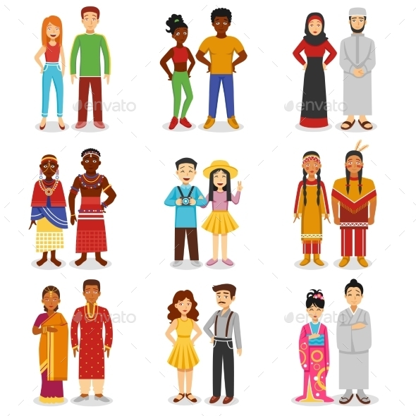 National Couples Icons Set  - People Characters