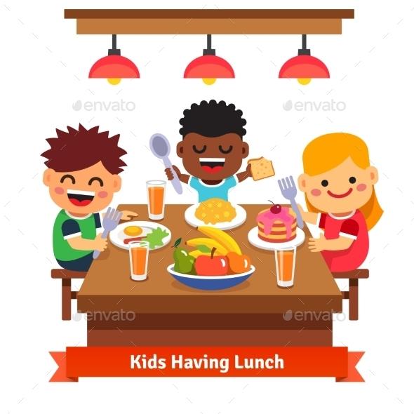 Children Having Dinner - People Characters