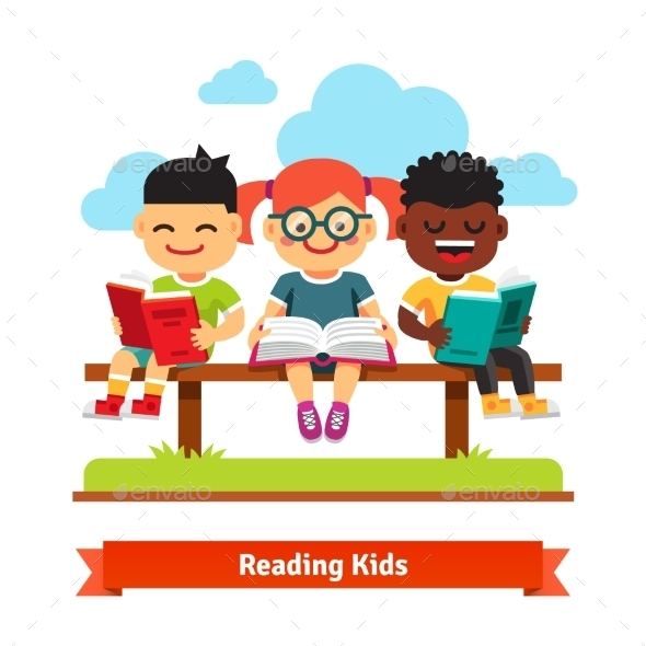 Three Kids Sitting on the Bench and Reading Books - People Characters