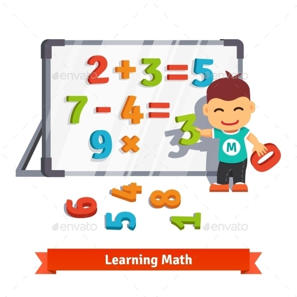 Boy Learning Math - People Characters