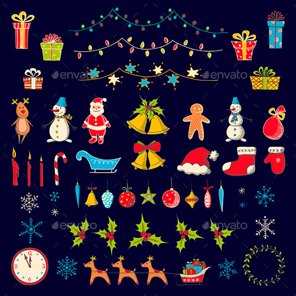 Set of Christmas and New Year elements - Christmas Seasons/Holidays