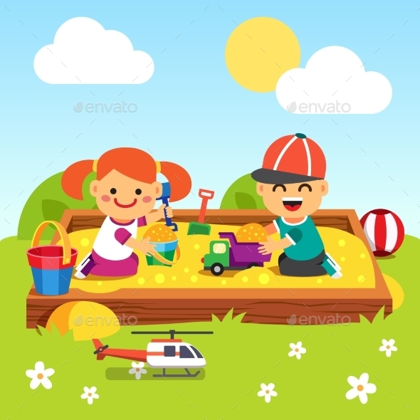 Kids Playing in Kindergarten Sand Pit - People Characters
