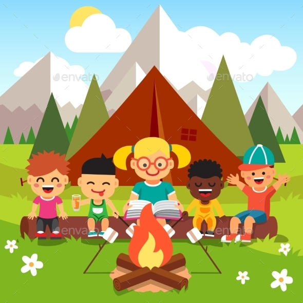 Kindergarten Kids Camping in the Forest - People Characters