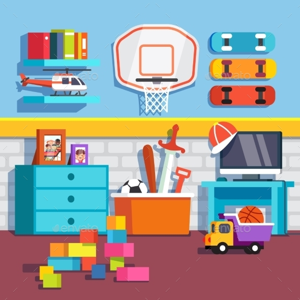 Boys Room with Toys - Man-made Objects Objects