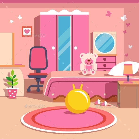 Girls All Pink Bedroom Interior - Man-made Objects Objects