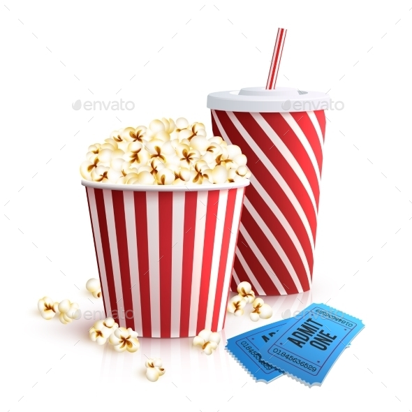 Cola Popcorn and Tickets - Food Objects