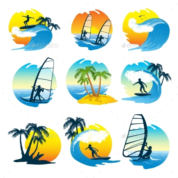 Surfing Icons Set with People - Decorative Symbols Decorative