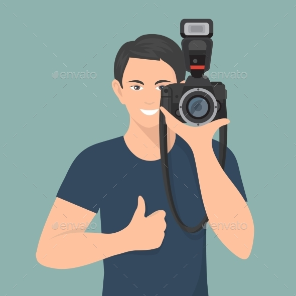 Photographer Flat Illustration - Media Technology