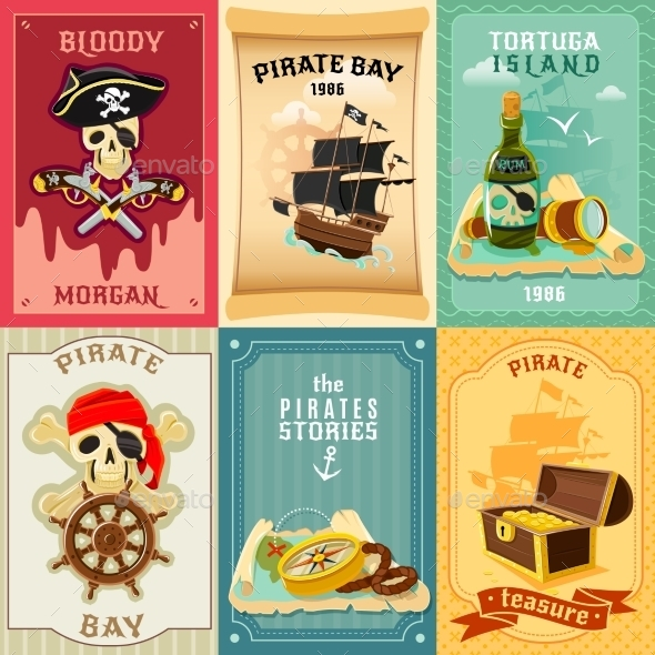 Pirate Flat Icons Composition Poster - Miscellaneous Conceptual