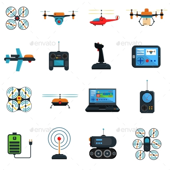 Drones Icons Set - Technology Icons