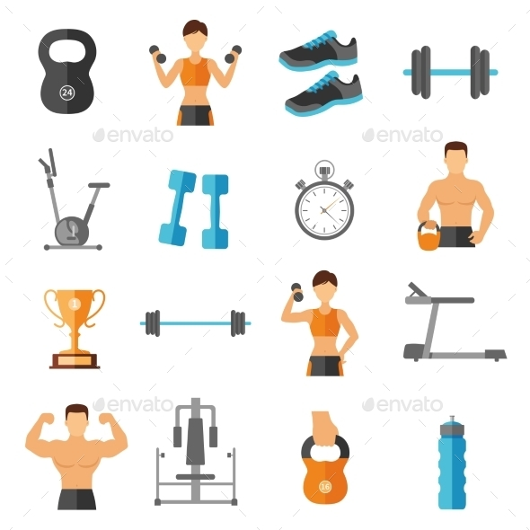Fitness Flat Style Icons Set - Man-made Objects Objects