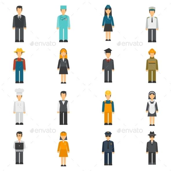 Profession Flat Avatars Set - Characters Icons