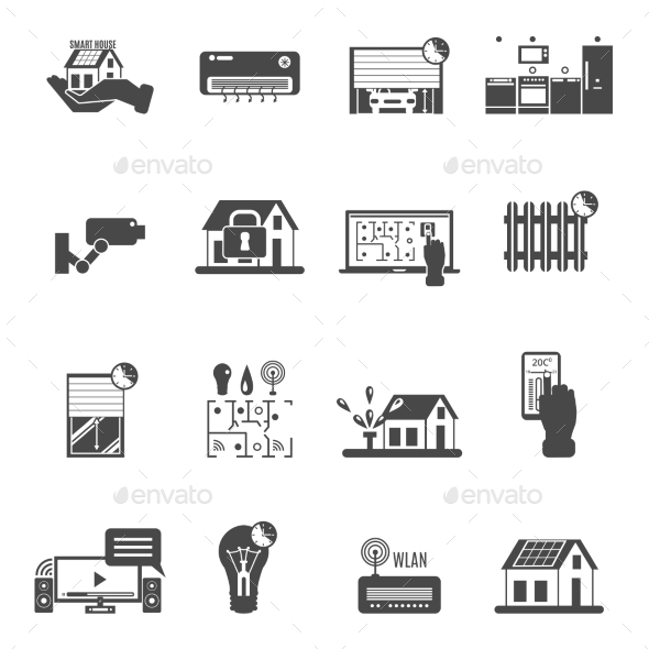 Smart House Black White Icons Set  - Buildings Objects