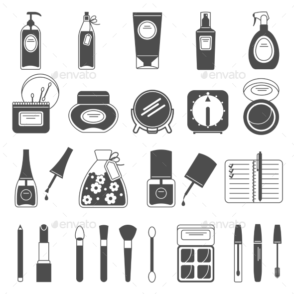 Makeup Beauty Accessories Black Icons Set - Man-made objects Objects