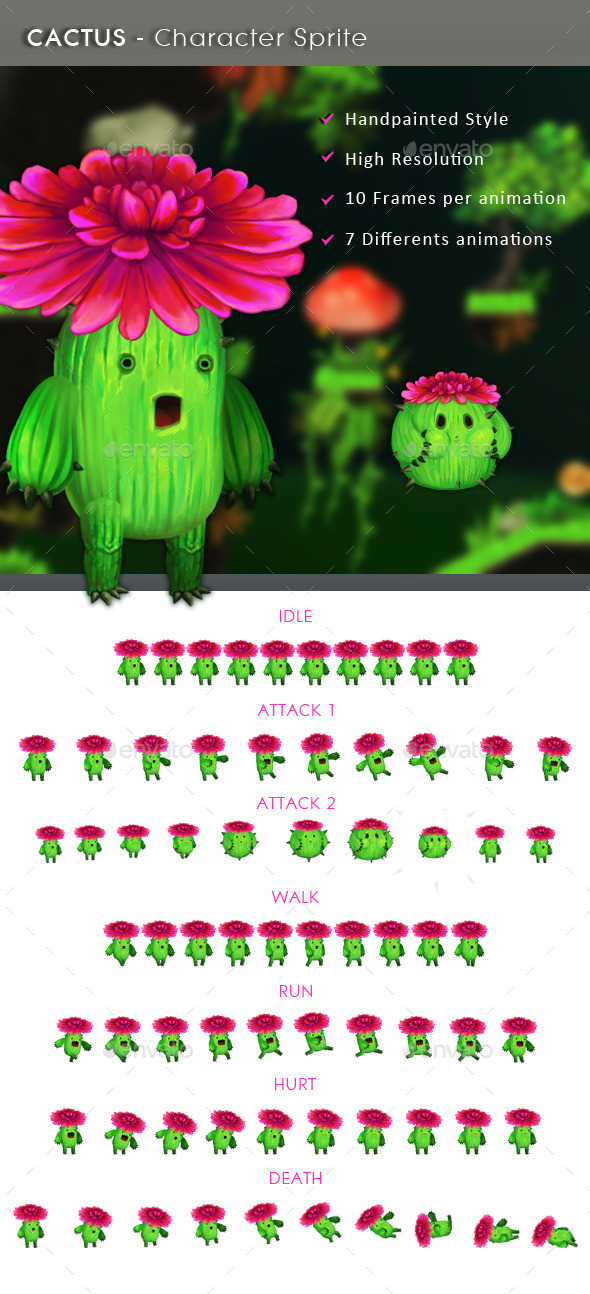Cactus - Character Sprite - Sprites Game Assets