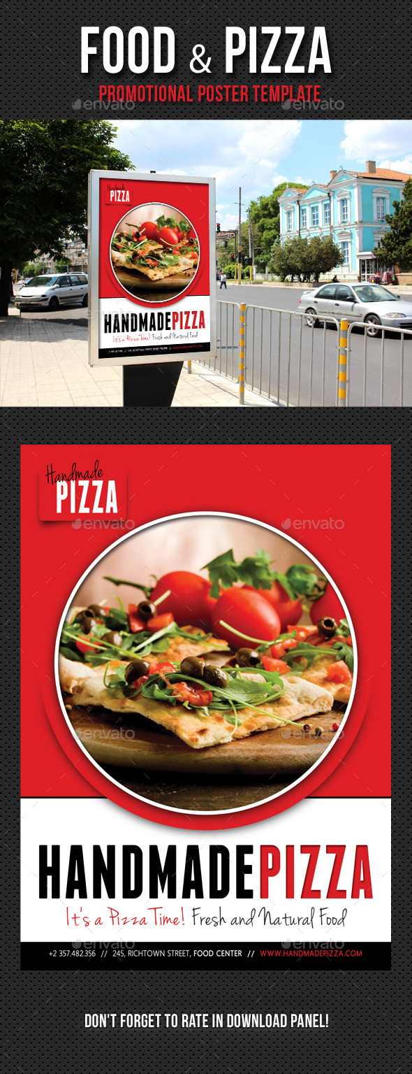 Food And Pizza Poster Template V01 - Signage Print Templates