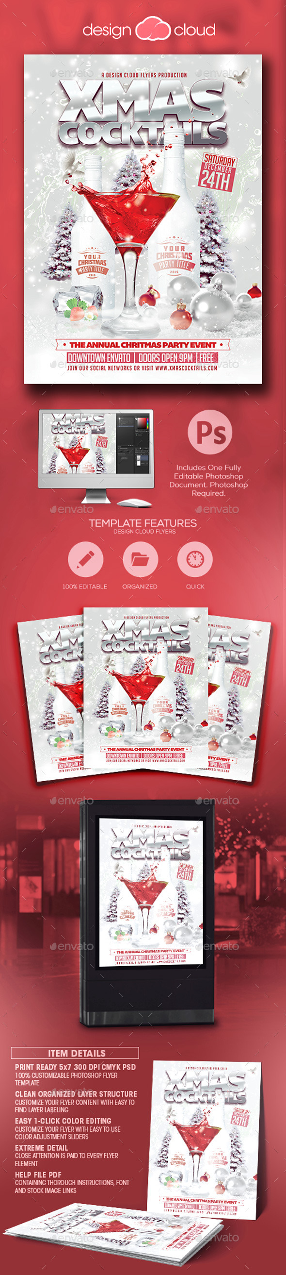 White Christmas Cocktail Party Flyer Template - Holidays Events