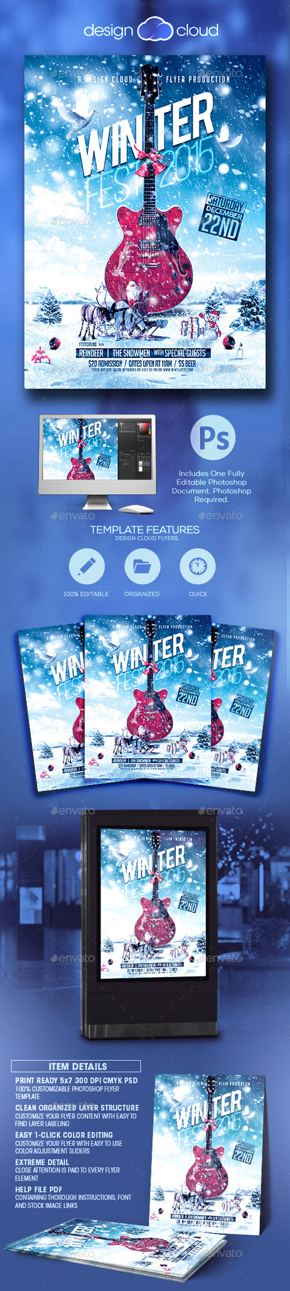 Winter Fest Music Flyer Template - Holidays Events
