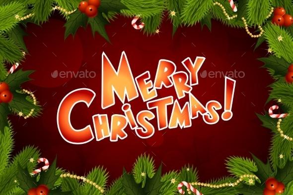 Christmas Background with Fir Twigs - Christmas Seasons/Holidays