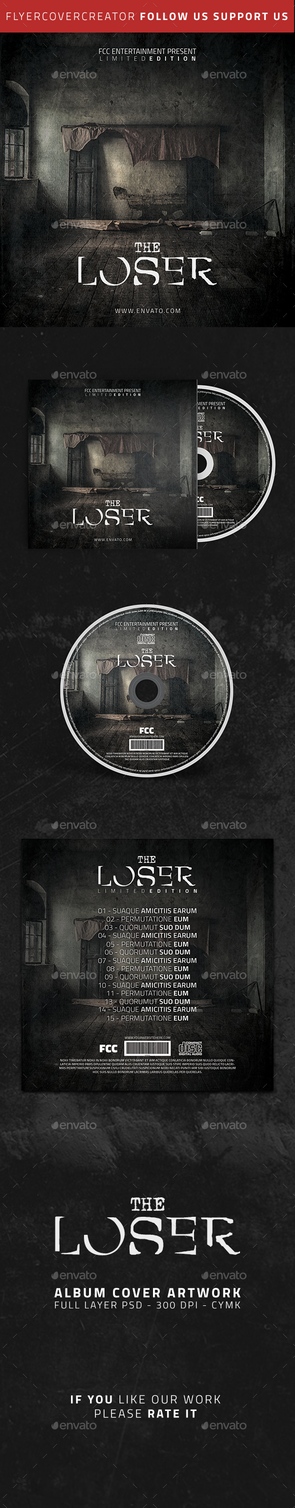 The Loser Album Cover Artwork - CD & DVD Artwork Print Templates