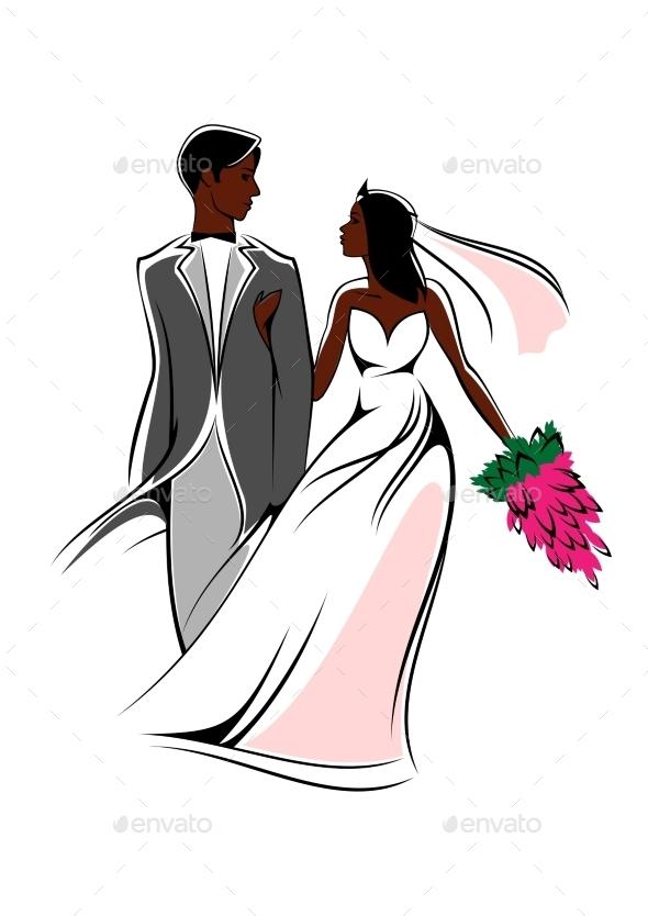Happy Bride And Groom With Flowers - Weddings Seasons/Holidays
