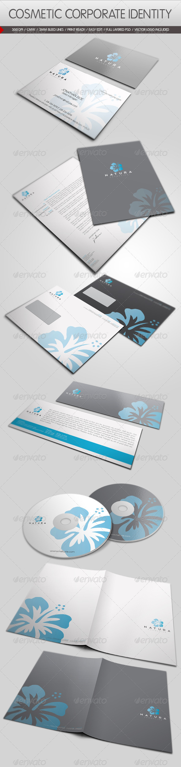 Cosmetic Corporate Identity - Stationery Print Templates